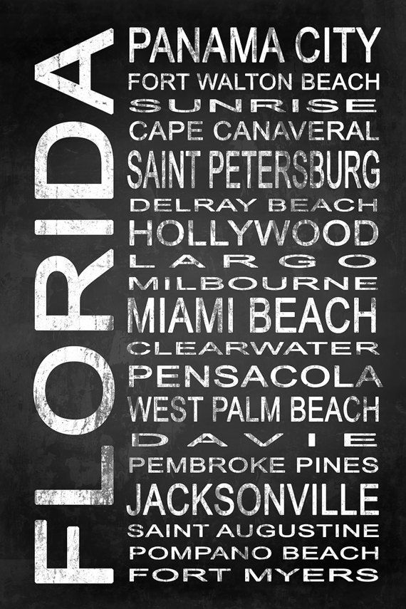 Subway Florida State 1 by Melissa Smith | Urban Art District.  Modern subway sign chalkboard typography features destinations in Florida state such as: Panama City, Fort Walton Beach, Sunrise, Cape Canaveral, Saint Petersburg, Delray Beach, Hollywood, Largo, Miami Beach, Milbourne, Clearwater, Pensacola, West Palm Beach, Davie, Pembroke Pines, Jacksonville, Saint Augustine, Pompano Beach, Fort Myers  Embrace your love for Florida and add some urban sophistication to compliment your modern…