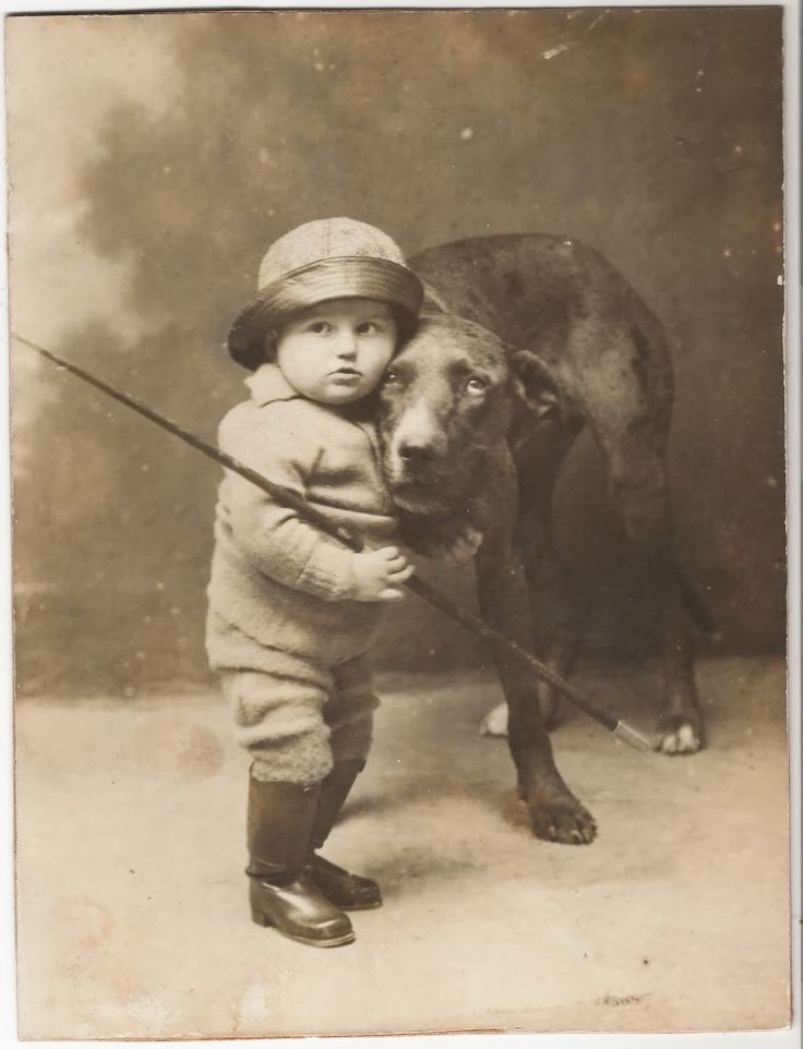 vintage everyday: Unknown little boy and his dog