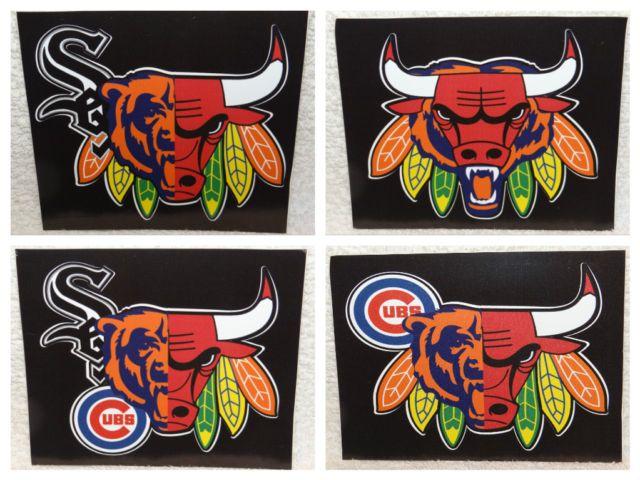 Custom Window Decal Sticker - Chicago Bears, Blackhawks, Bulls, Cubs, White Sox
