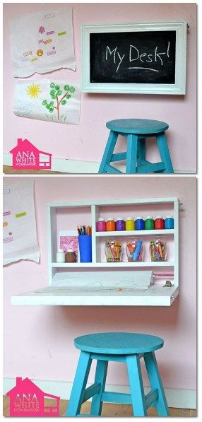 If you have a preschooler, it's easy to make them a desk that's space saving and can store art materials at the same time. Ana White has another great tutorial on building a flip down wall art desk...