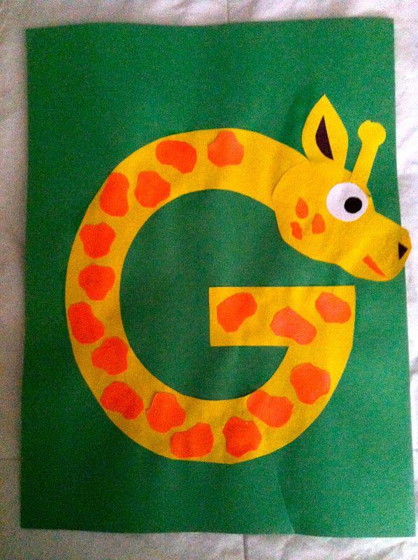 letters, kindergarten, preschool, alphabet craft, g giraffe craft, alphabet animals, g is for giraffe