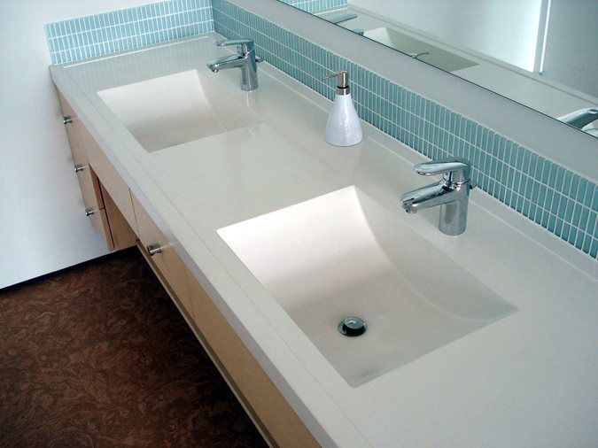 Double Sink, White Sink, Concrete Sink Architectural Details Evolution Architectural Concrete Essex, CT