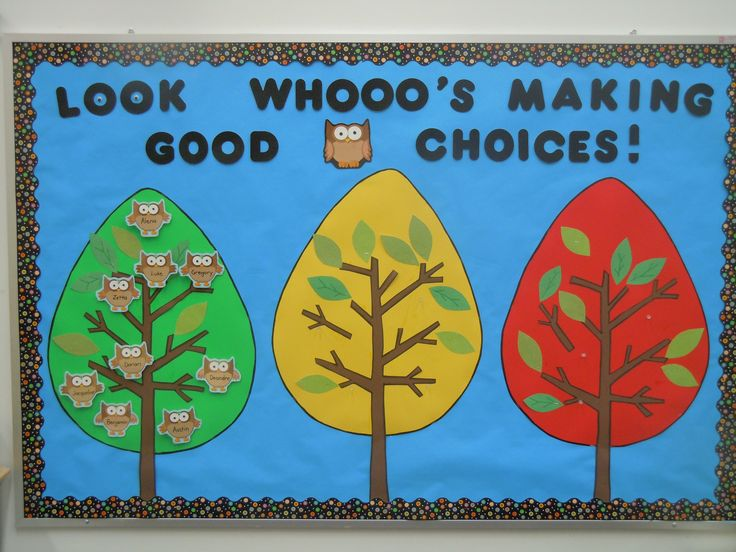 Owl Theme Behavior board | Our behavior board. The goal: stay in the green tree.