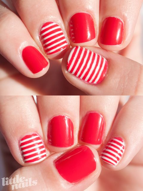 red + stripe accent nails: Nails Art, Red Stripes, Stripes Mani, Accent Nails, Manicures Ideas, Christmas Manicures, Stripes Nails, Holidays Nails, Fun Manicures