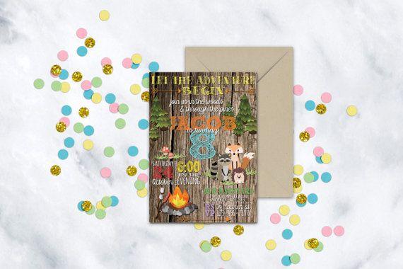 Woodland Critter Birthday #Invitation   Camping Birthday Invitation   Boys Camping Birthday   Camp Party #Invite   Adventure Birthday Invite   Hey friend! Thanks a bunch for ... #invitation #invite #campfire