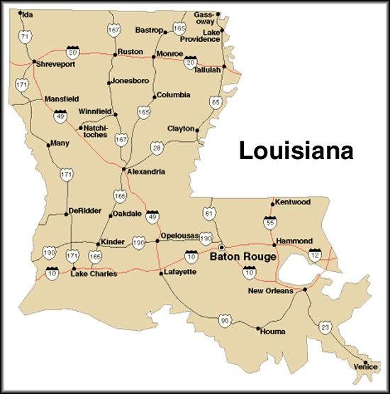 The map of Louisiana.