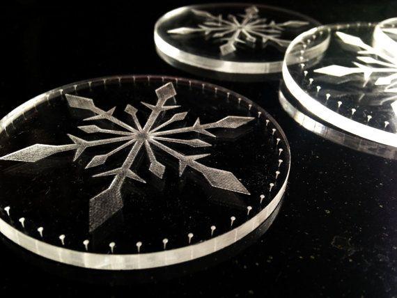 SET4 #Christmas snowflake coasters acrylic #coasters by DreamADesign