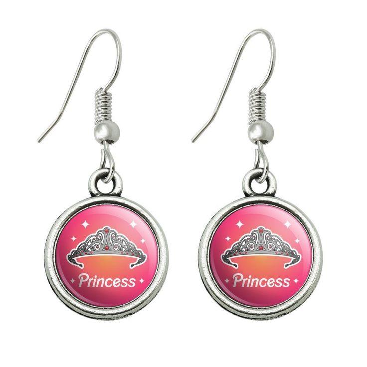 Princess Crown Tiara Pink Background Novelty Dangling Drop Charm Earrings