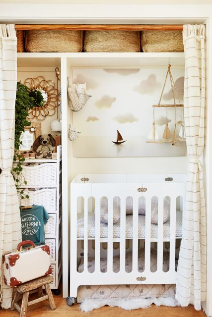 Tiny house closet nursery Two People, Two Dogs & A Baby Live In This 362-Square-Foot Cottage+#refinery29 #paid