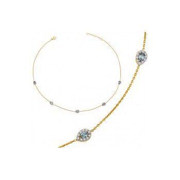 Ce bijou est un Collier femme Fantaisie avec Oxydes de zirconium synthétiques et Topaze Bleue synthétique en Plaqué Or Doré de la marque Altesse