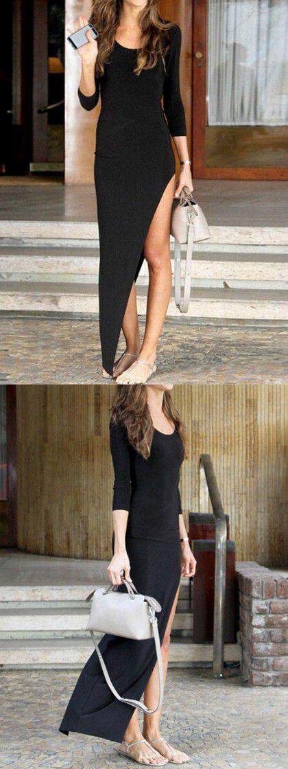 Black 3/4 Sleeve Plain Asymmetric Bodycon Dress