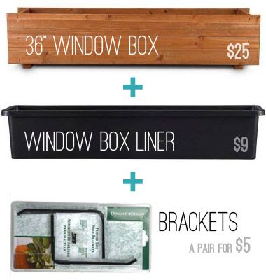 "36"" window box,liner, and brackets all from Home Depot!  Spring Pinterest Challenge: Boxed Up 