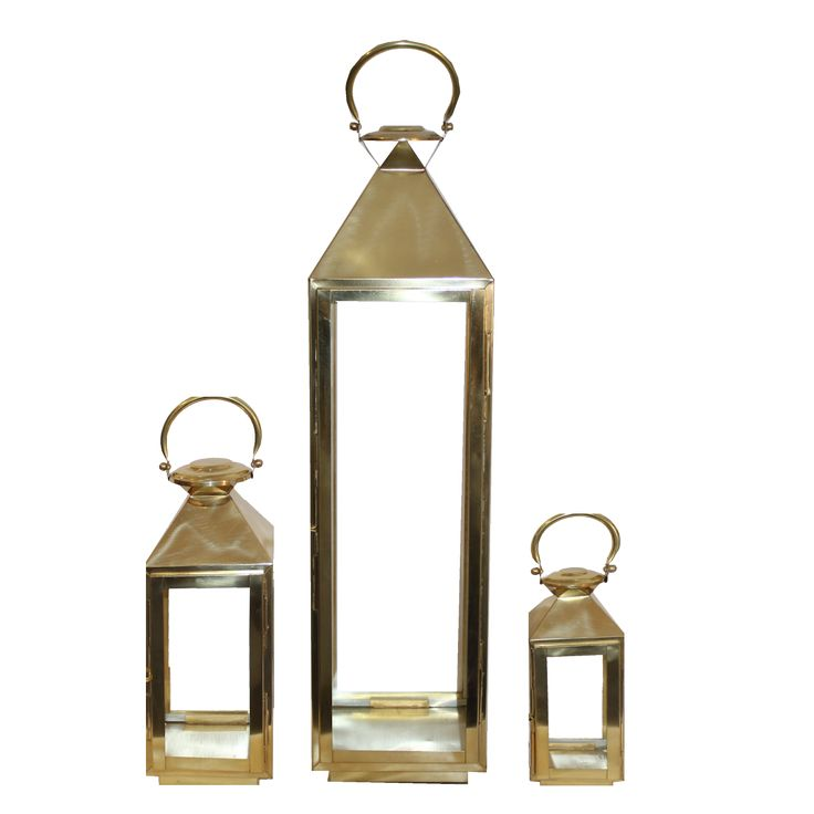 3 Gold Lanterns Gold / Brass Lantern Hire - Gold Wedding Lanterns - Gold Glass Lantern - Gold Hurricane Lantern