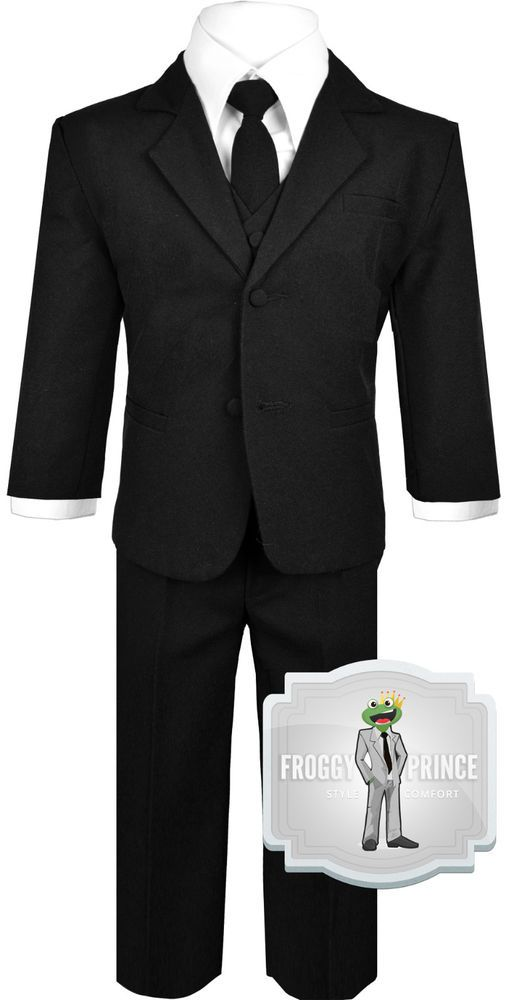 Baby Boys Black Suit and Tie with Vest Outfit Size (3-24 Months) 2T 3T 4T 5 6 7 #Handmade