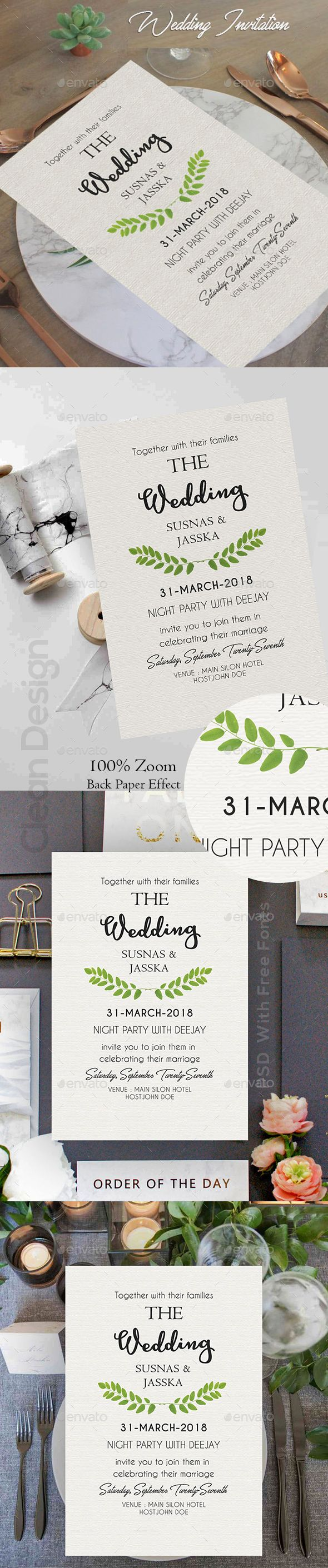 #Wedding #Invitation #Card - Cards & Invites Print Templates