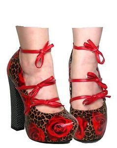 Too Fast Rose Leopard Pinup Mary Jane High Heel Shoes Punk Psychobilly Pinup | eBay