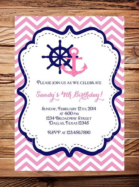 Nautical Birthday Invitation, Sailor, BOY, GIRL, Chevron Stripes, Navy, Pink, Yellow, Sailor Birthday Invitation, Boat, Anchor on Etsy, $21.00