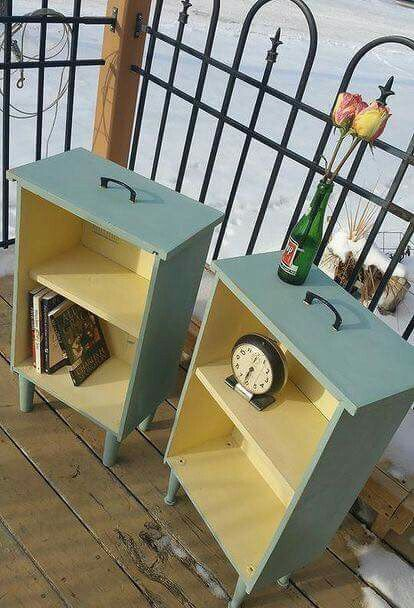 upcycled drawers to side tables, painted furniture, repurposing upcycling ,  NIGHT STANDS