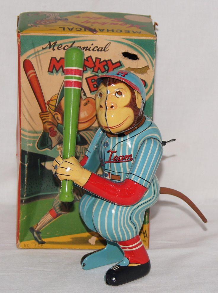 AAA Monkey Batter Baseball Wind up toy from 50s/ebay ...