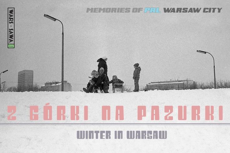 Z górki na Pazurki! Winter in Warsaw! Postcard by Wars Sawa Design, Warszawa, Warsaw, Memories of PRL.