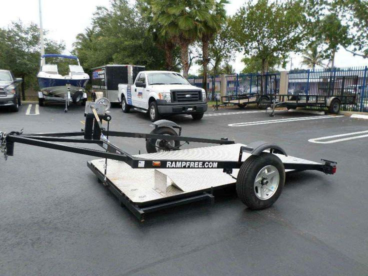 Used 2013 Other Ramp Free Motorcycle trailer ATVs For Sale in Florida. This is a 2013 Ramp Free motorcycle trailer . This trailer has a deck that has the ability to lower flat to the ground so that a motorcycle or trike can be loaded without an incline . These trailers are ideal for lowered motorcyles , Spyders and custom cycles that will bottom out on conventional trailers . A heavy duty steel frame , axle and diamond plate deck make for a trailer that will last a lifetime .