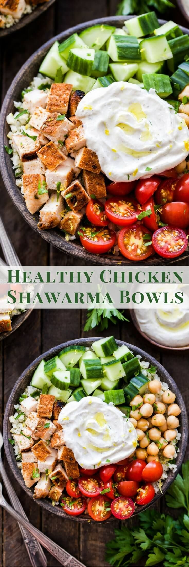 These Healthy Chicken Shawarma Bowls need to be in your weeknight dinner rotation! Fresh vegetables, chickpeas, seasoned chicken and the most amazing spiced yogurt sauce. Keep it low-carb with cauliflower rice or substitute with your favorite whole grain for a complete balanced meal! #healthy #glutenfree #lowcarb