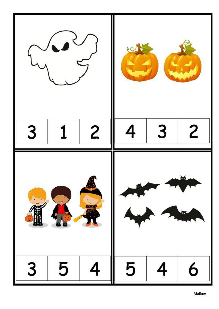 Halloween écriture chiffrée 1 à 6