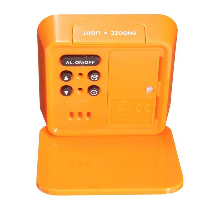 Foldable LCD Digital Travel Desk Alarm Clock Snooze Date Day Thermometer Orange