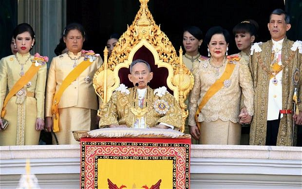 Thai King Bhumibol Adulyadej delivers a speech from the balcony of the Grand Palace in Bangkok to mark his 84th birthdayPhoto: EPA