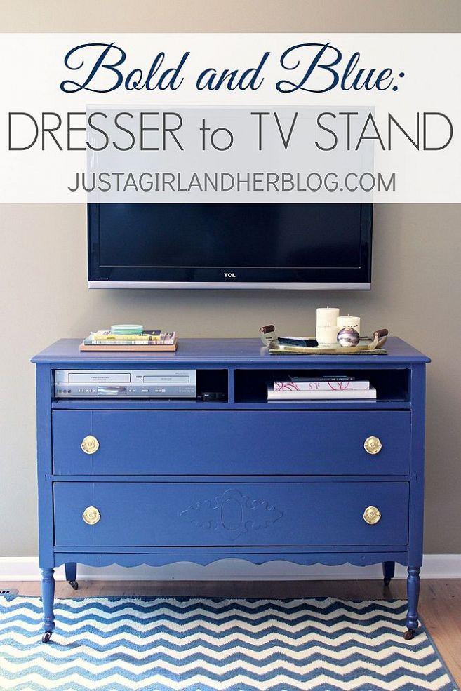Transform a sad old dresser into a brilliant blue TV stand.