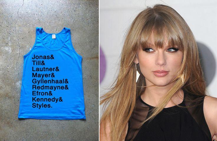Marca cria camiseta com os ex-namorados de Taylor Swift