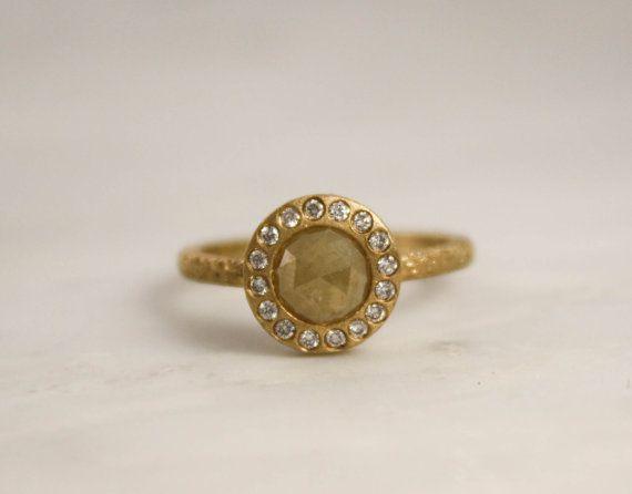 Yellow Rose Cut Diamond Bezel Diamond Ring in 14K Yellow Textured Gold