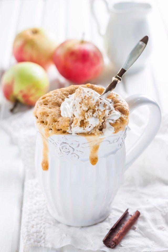 Яблочный кекс с корицей в кружке  Ингредиенты:  Мука — 4 ст. л. Разрыхлитель — 0,5 ч. л. Сахар — 2 ст. л. Молоко — 1,5 ст. л. Яблочное пюре — 2 ст. л. Нарезанное яблоко — 2 ст. л. Корица — 1 щепотка  Приготовление:  1. Яблоко почистить, нарезать мелкими кубиками. 2. Смешать в чашке, пригодной для микроволновки, все ингредиенты, кроме яблока. Добавить кусочки яблок, перемешать. 3. Поставить кружку в микроволновку. Выпекать на полной мощности 1 минуту. Если кекс не готов, вернуть его обратно в…