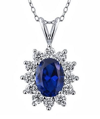 """#SALE #OFF 83% 2.25 Ct Oval Blue Created #Sapphire 925 Sterling #Silver #Pendant with 18"""" Chain List Price: $175.00 Price: $29.99 You Save: $145.01 (83%)   https://www.facebook.com/Buyers.Digest"""