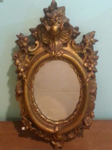Antique Vintage Ornate Gold Painted Chalk Plaster Frame