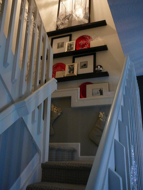 ::: FOCAL POINT :::: DECK THE HALLS  STAIRWAY WALLS!  I want shelves on my stairway landing.