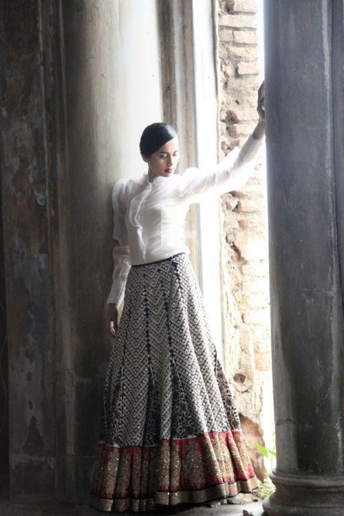 Stunning Embroidered #Lehenga With White Shirt #Blouse.