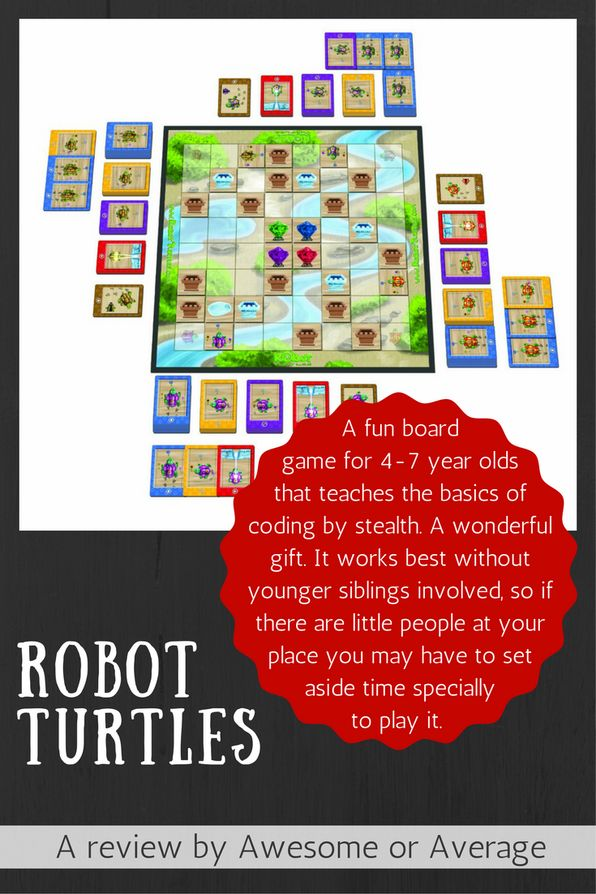 Robot Turtles is a clever board game for 4-7 year olds that stealthily teaches the basics of coding, while providing heaps of fun. It's not really suitable for younger kids but is a valuable addition to the games cupboard for the right age group. Buy from Amazon: http://amzn.to/2dQkNmc (affiliate link)
