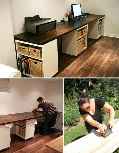 Extra work spaces overlooking the back yard. A simple double desk made from existing cubes and a long plank of wood.