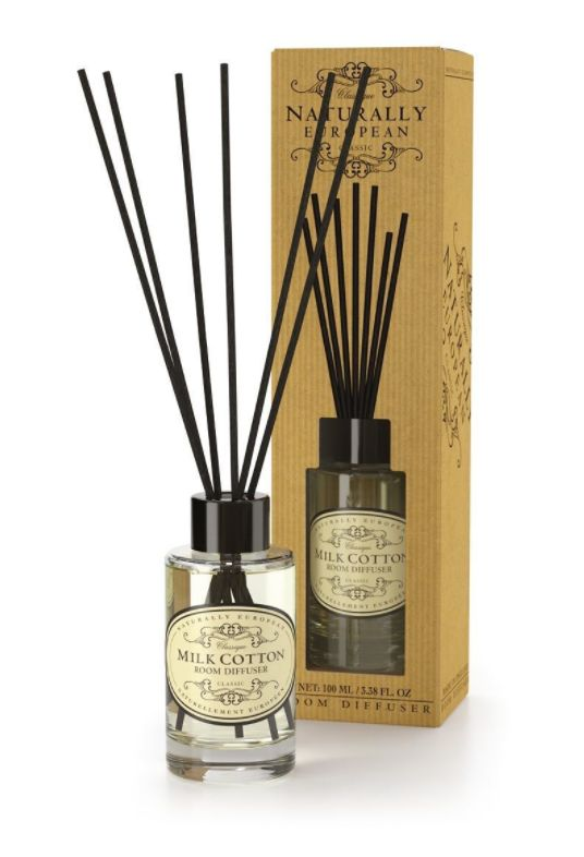 Wonderfully Fragranced Diffusers - Milk Cotton - A seriously great quality diffuser which subtly but definitely fragrances your room. The use of essential oils ensures a clean and natural fragrance.  Milk Cotton offers the warming undertones of cedarwood and patchouli. A clean fragrance that is mellow and warming.  100ml