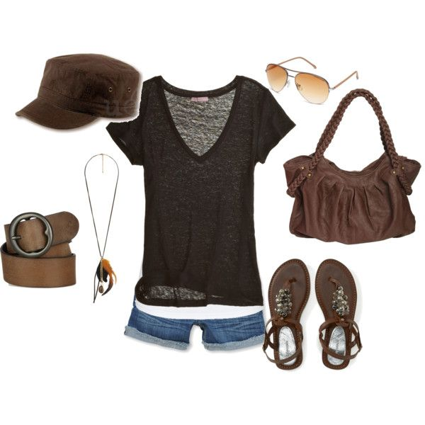 Black and BrownSummer Fashion, Summer Casual, Brown Shoes Outfit, Cute Summer Outfit, Summertime Outfit, Cute Outfit, Diy Nails, Brown Shorts Outfit, Art Brown