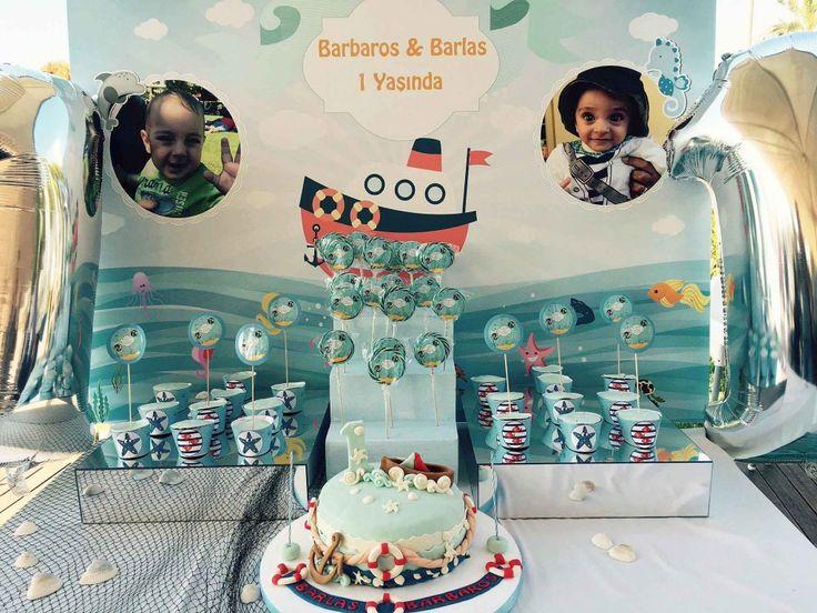 Deniz temalı 1 yaş doğum günü şekerleme büfesi detay