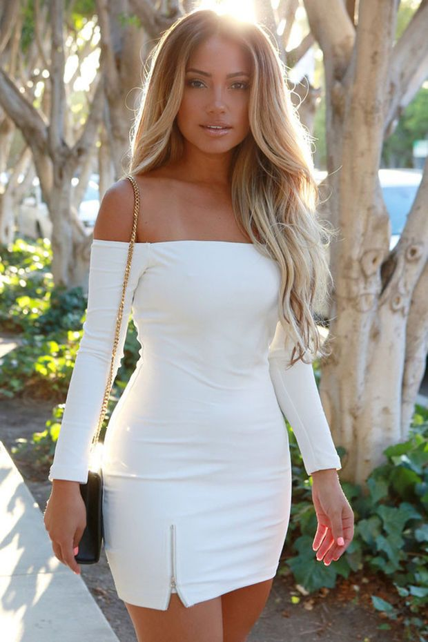 White Off-shoulder Long Sleeve Zipped Slit Bodycon Mini Dress