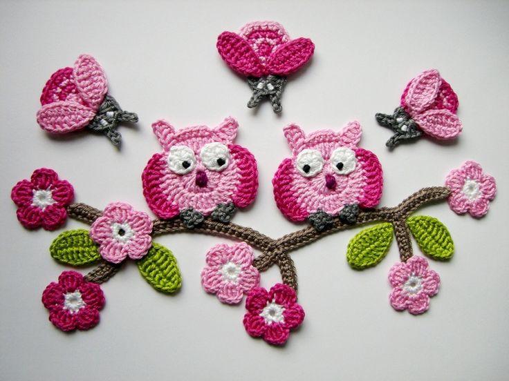 Häkelapplikation, Eulchen auf Blütenzweig von Hannis-Schatzkiste auf DaWanda.com