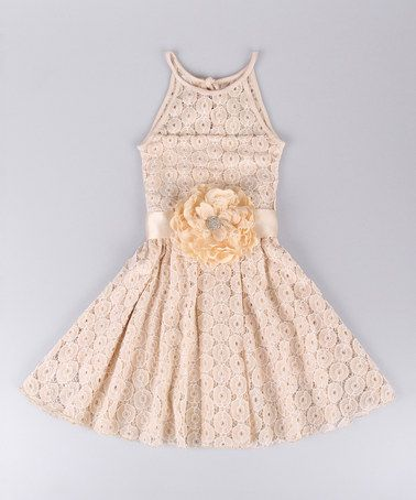 Take a look at this Oatmeal Rosette Lace Skater Dress - Toddler & Girls on zulily today!
