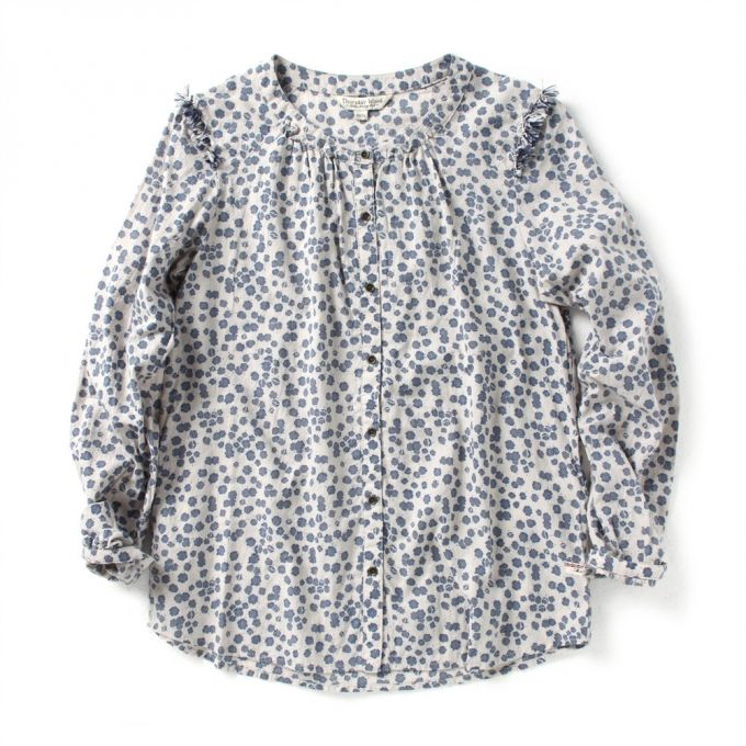 [Thursday Island] Women Tops Shirts Women's Fringe Shoulder Blouse T146MBL131W