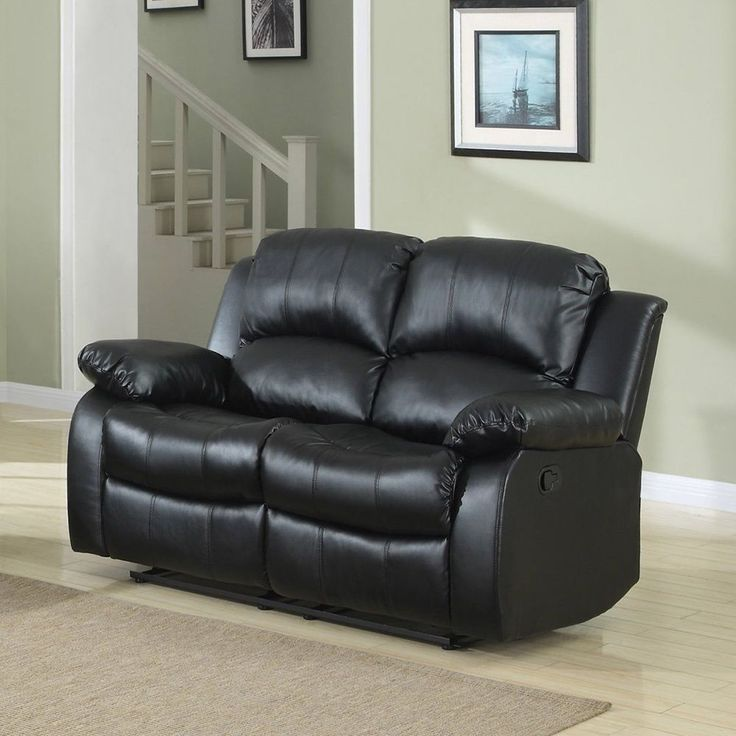 Madison Classic Oversize and Overstuffed 2 Seat Bonded Leather Double Recliner Loveseat (Black) (Faux Leather)