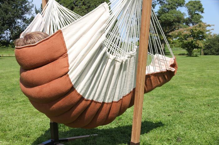 Rocker Hanging Chair Lounger (XXL) ecru / brown [XXL] - €195.00 : This super comfortable hanging chair is hand made of brushed cotton.