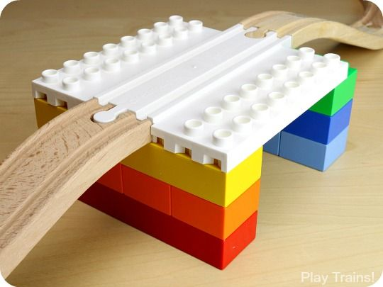 Wooden Railway Block Platforms  -- Allows you to combine your child's wooden train track and DUPLO LEGO's to build platforms and tunnels. Made by dreamuptoys.com