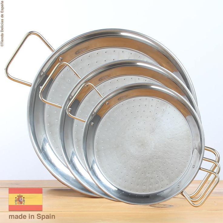 Stainless Steel #PaellaPan 2 to 16 Portions - Sizes. The finest Paella Pan in the World by #Garcima S.L. Alaquas in Valencia home of the authentic #Paella - #Spain.